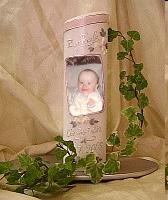 Fotokerze zur Taufe für Junge oder Mädchen