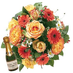 Blumenstrauss Blütenfrische und Champagner