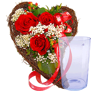Blumenstrauss Herzdrücken mit Tränenglas