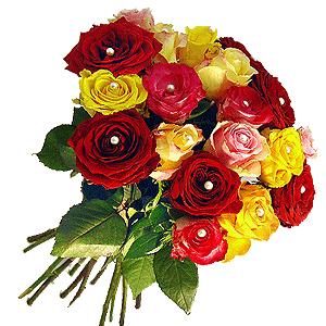Blumenstrauss Rosen Mix mit Perlen