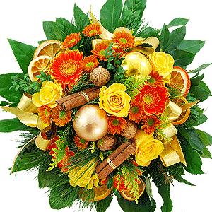 Blumenstrauss Blumenstrauß Goldene Weihnacht