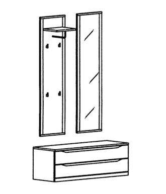 Paso Garderoben Set 2 - Kernbuche