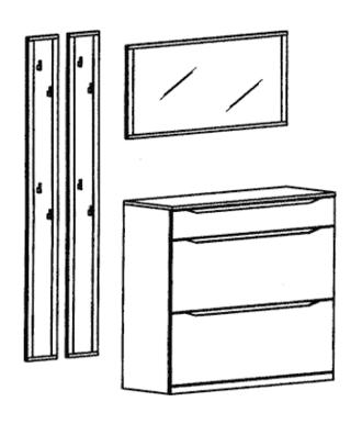 Paso Garderoben Set 3 - Kernbuche