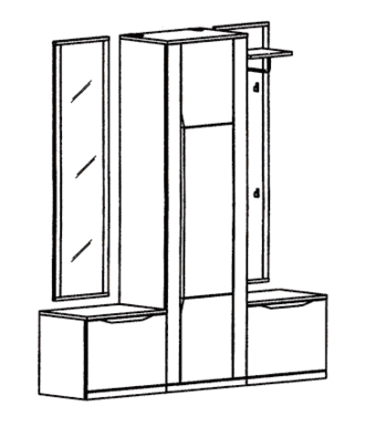Paso Garderoben Set 5 - Kernbuche