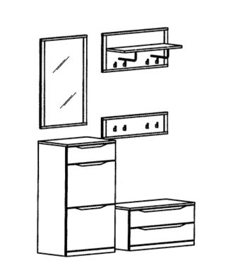 Paso Garderoben Set 7 - Kernbuche