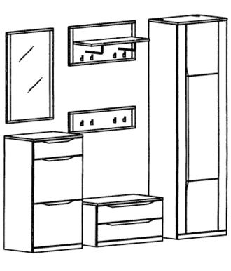 Paso Garderoben Set 9 - Kernbuche