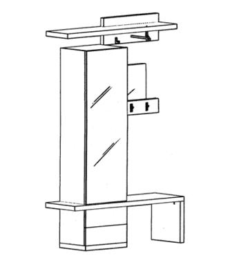 Cade Garderoben Set 1 - Basalt
