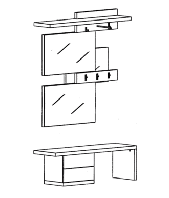 Cade Garderoben Set 2 - Basalt