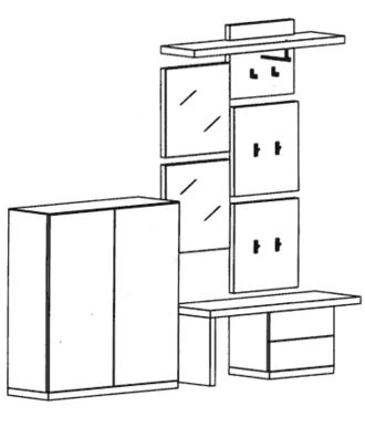 Cade Garderoben Set 3 - Granit