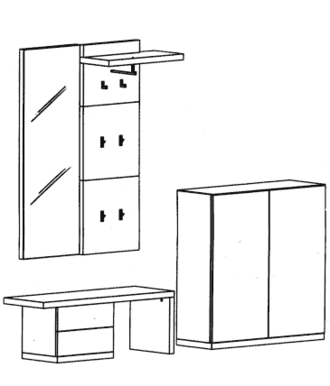 Cade Garderoben Set 5 - Granit