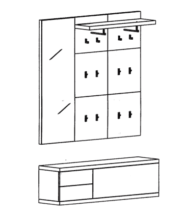 Cade Garderoben Set 6 - Granit