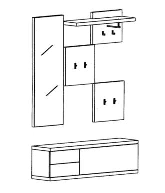 Cade Garderoben Set 7 - Granit