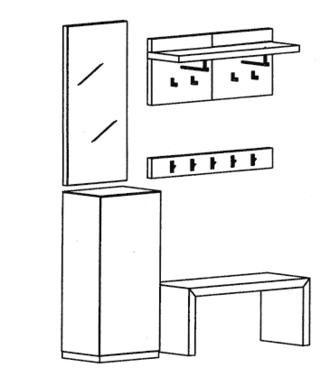 Cade Garderoben Set 9 - Granit