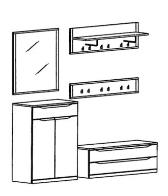 Paso Garderoben Set 10 - Weiß
