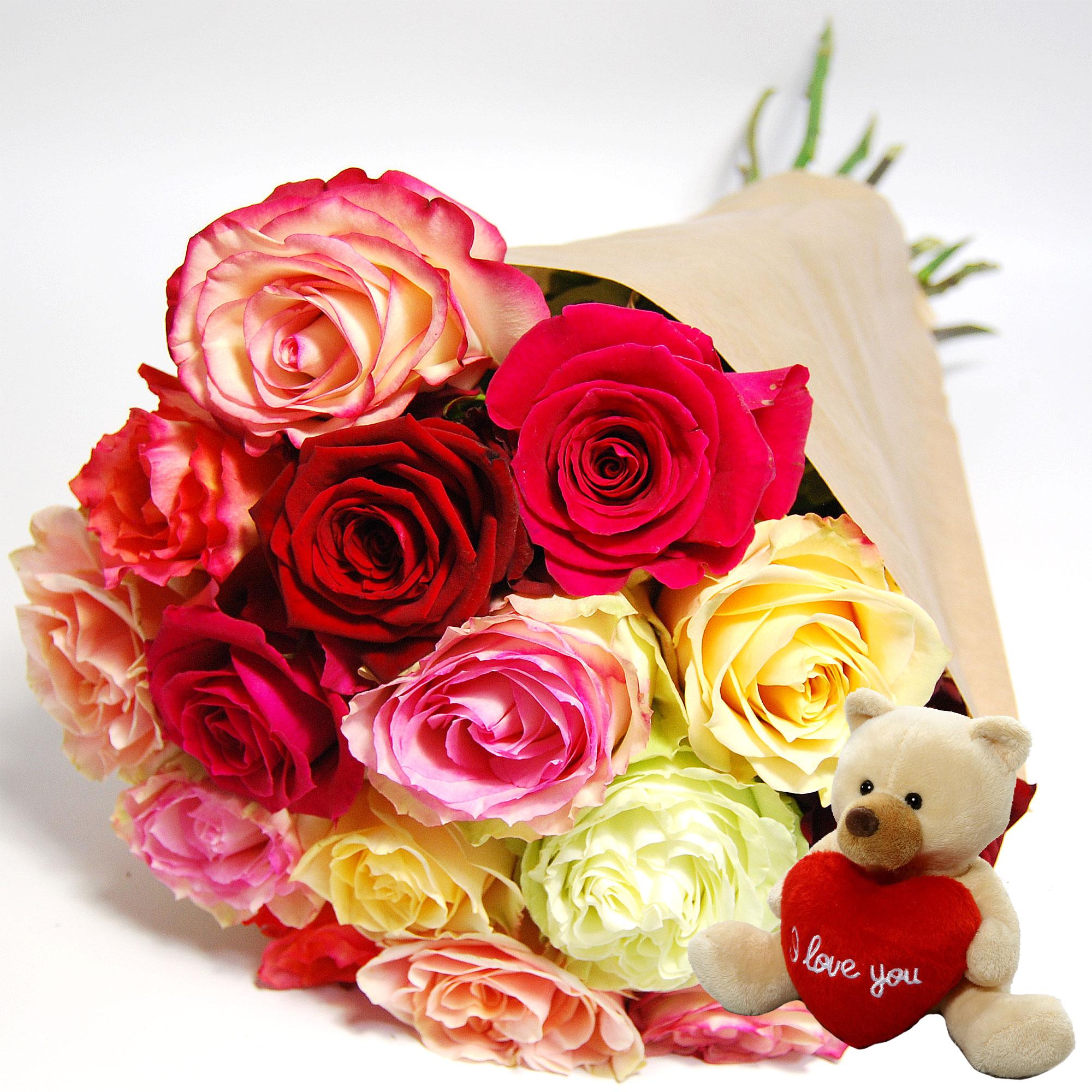 Blumenstrauss Rosenstrauß Rosen im Mix mit Bär