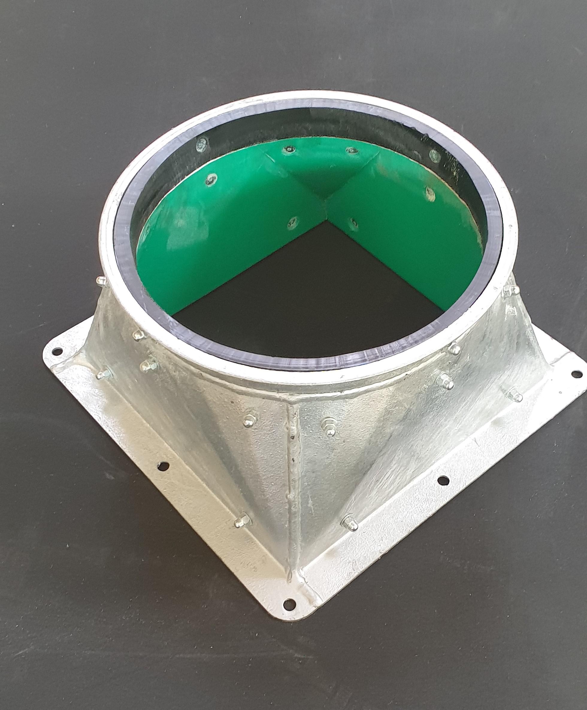 APS Übergang verzinkt 2mm rechteckig auf rund