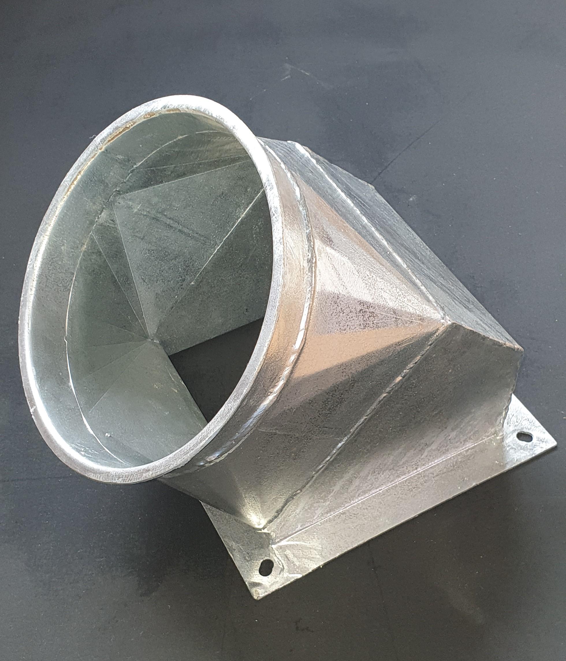 Übergang verzinkt 45° rechteckig auf rund 3mm