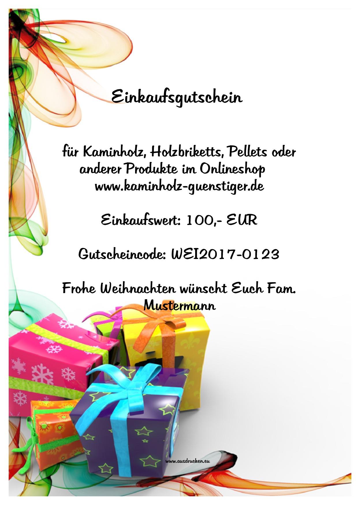 Gutschein Weihnachten 100,- EUR