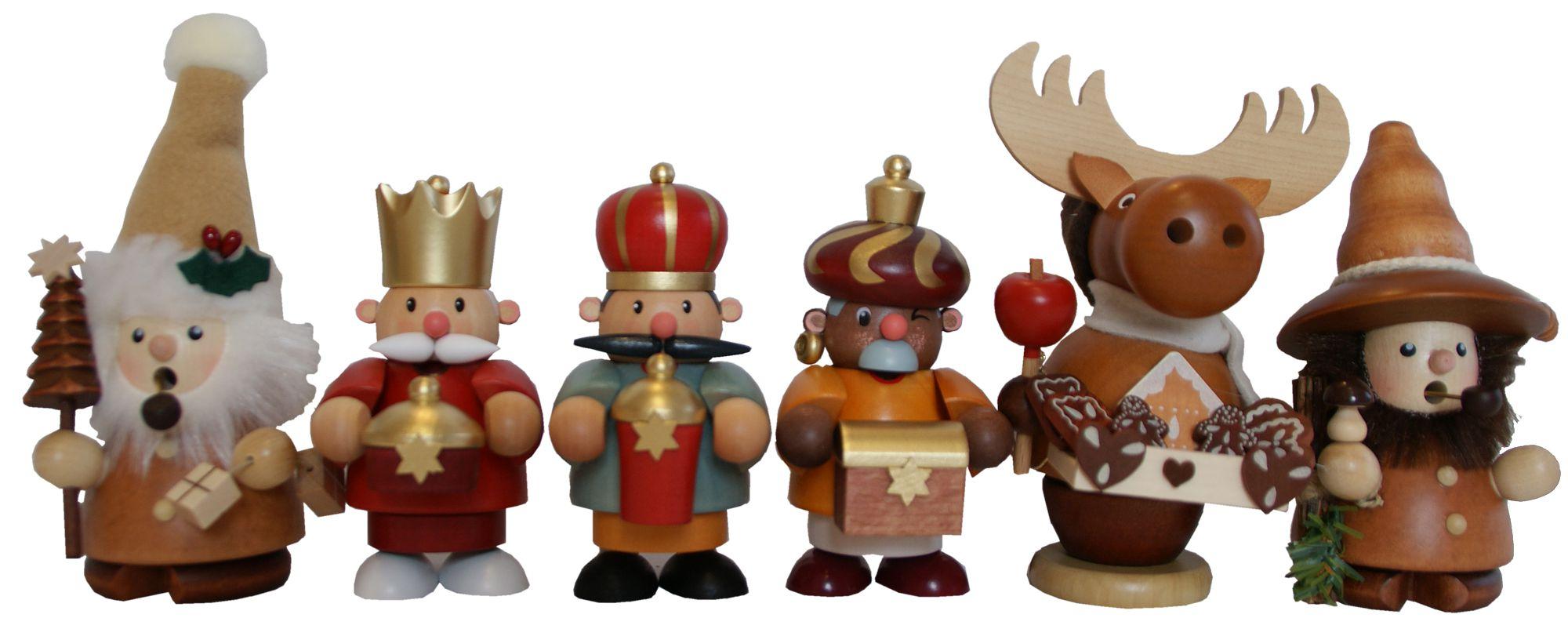 Räuchermann aus dem Erzgebirge: Weihnachtsmann Ruprecht Holzmichel Nachtwächter