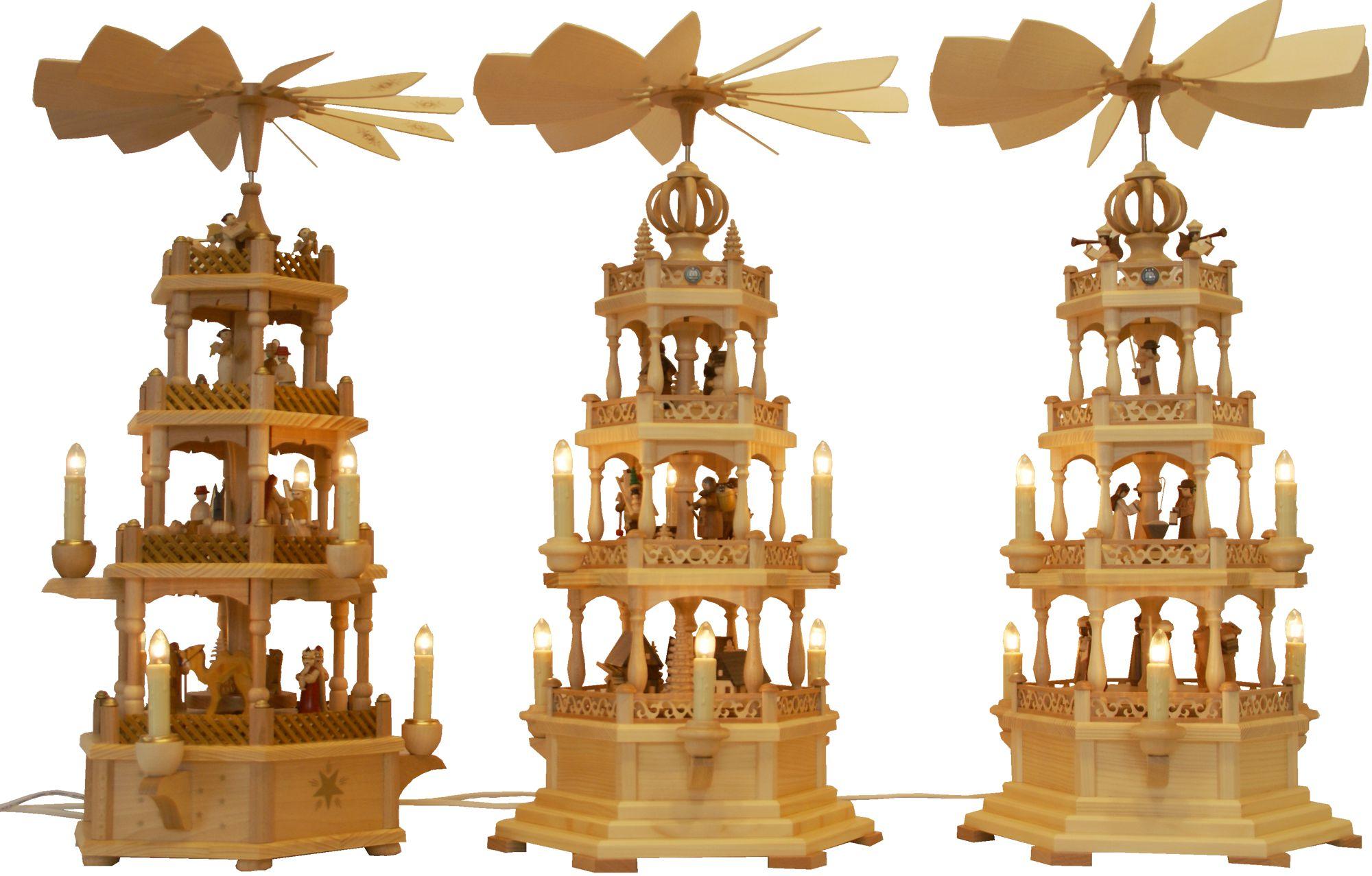 Weihnachtspyramiden aus Olbernhau und Seiffen im Erzgebirge