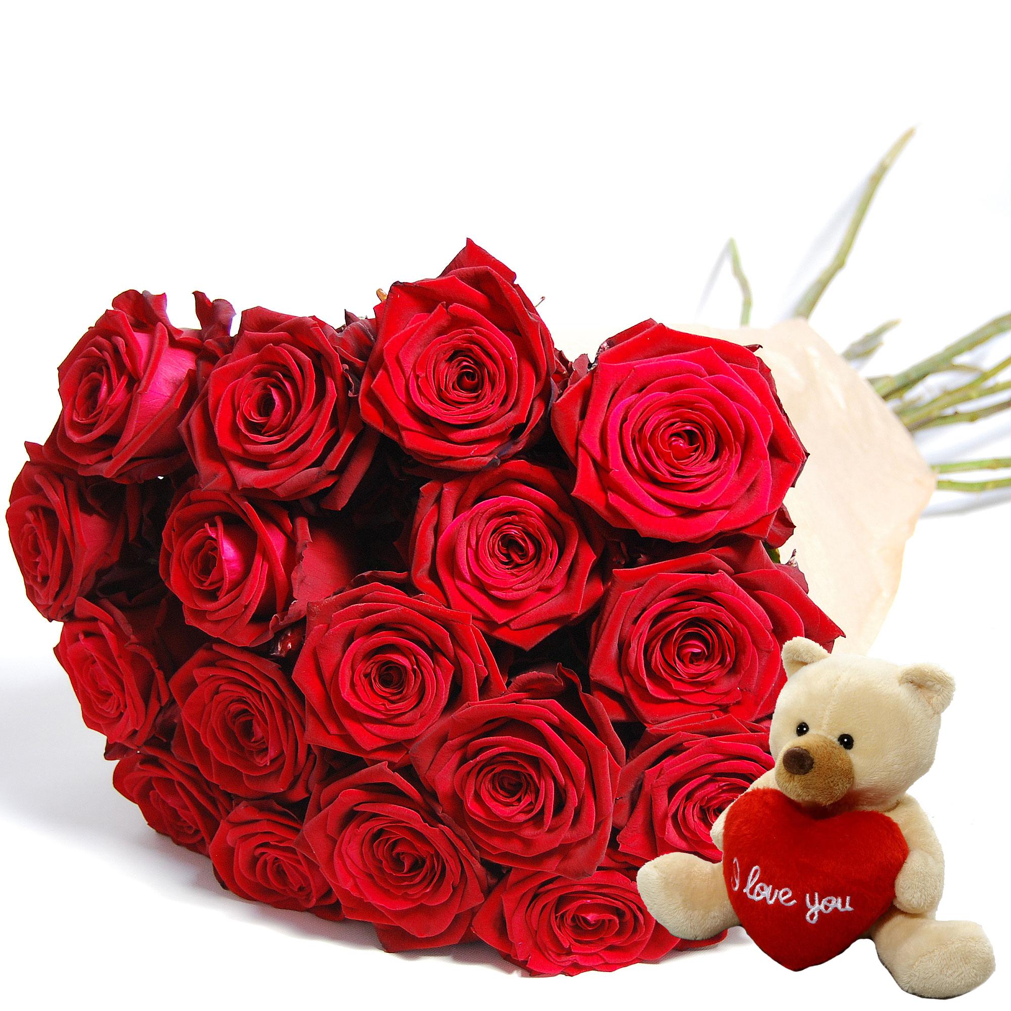 Blumenstrauss Rose Red Naomi Supra mit Bär