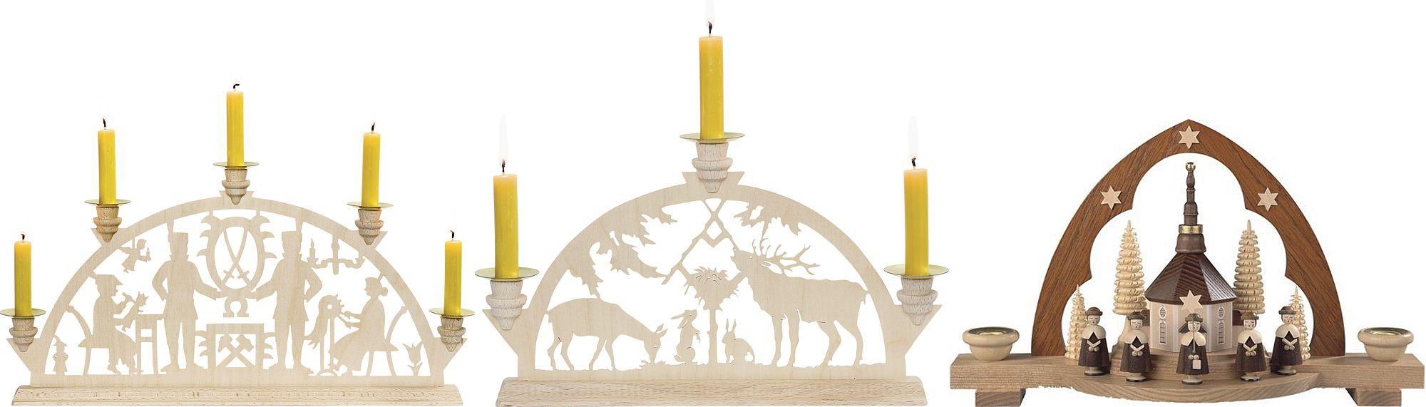 Schwibbögen für Kerzen aus dem Erzgebirge bis 40cm Breite