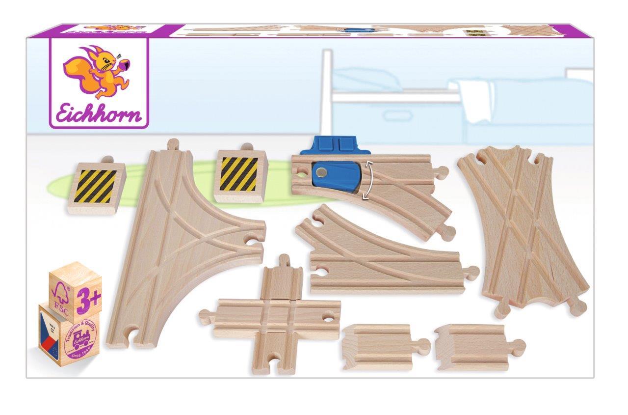 Eichhorn Bahn - Weichen Set 10tlg.