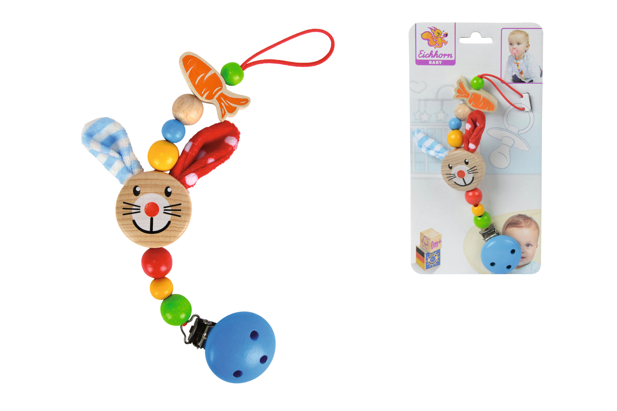 Eichhorn Baby Schnullerkette mit Clip