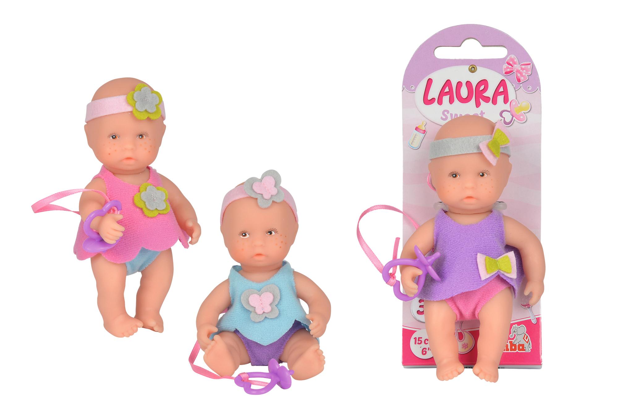 Laura niedliches Baby Puppe 15cm 3fs