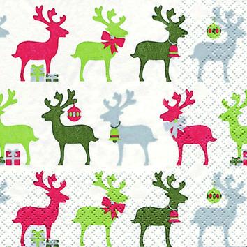 Reindeer rot/grün - Servietten 25x25