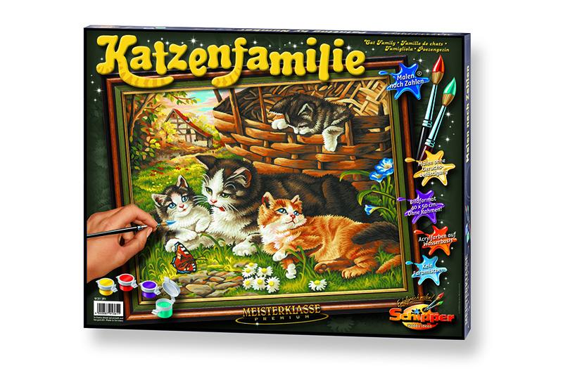 Malen nach Zahlen - Katzenfamilie