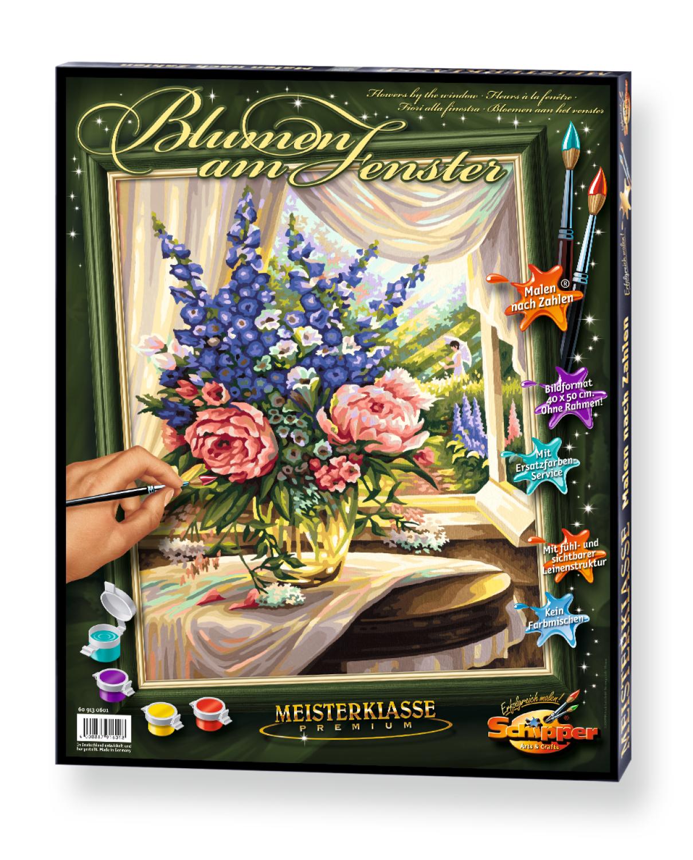 Malen nach Zahlen - Blumen am Fenster