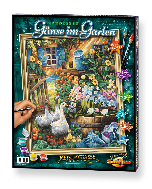Malen nach Zahlen - Gänse im Garten