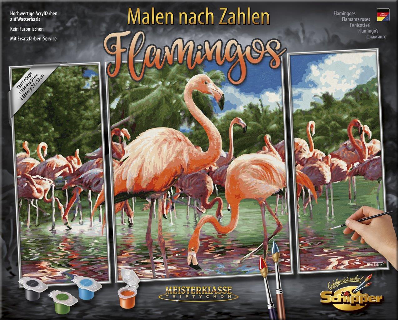 Malen nach Zahlen - Flamingos