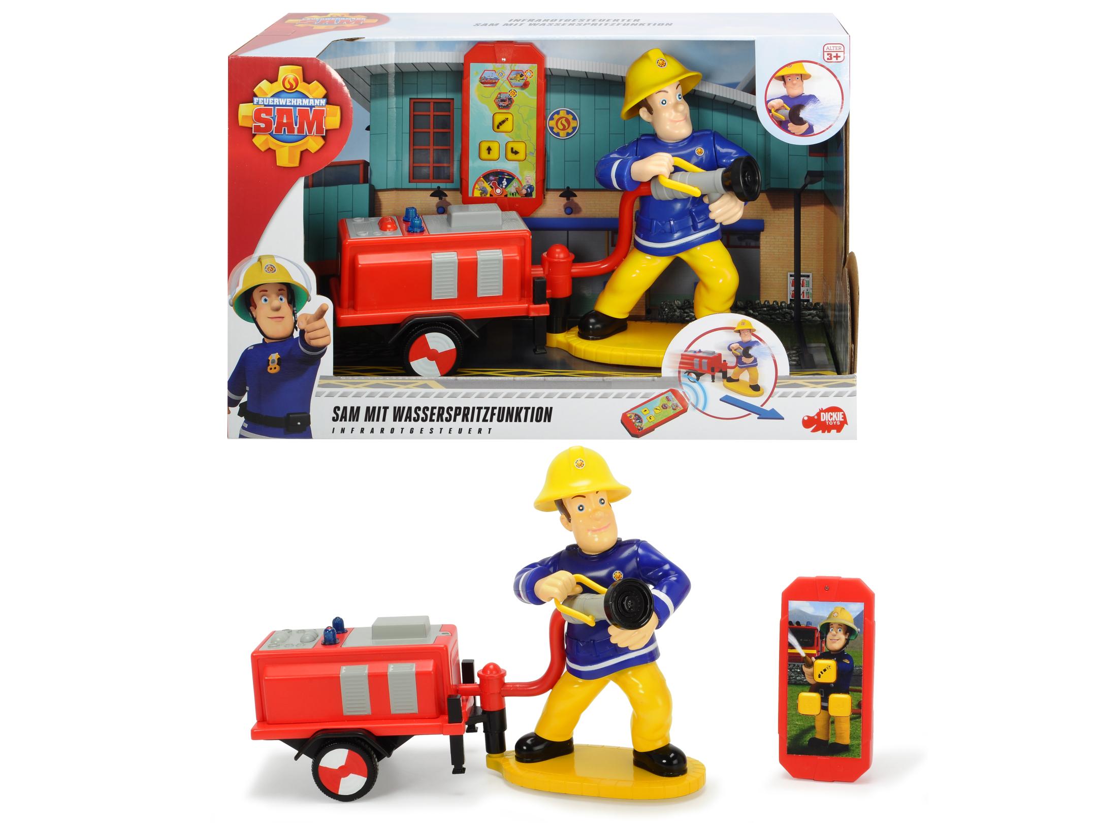 Fireman Sam mit Wasserspritzfunktion