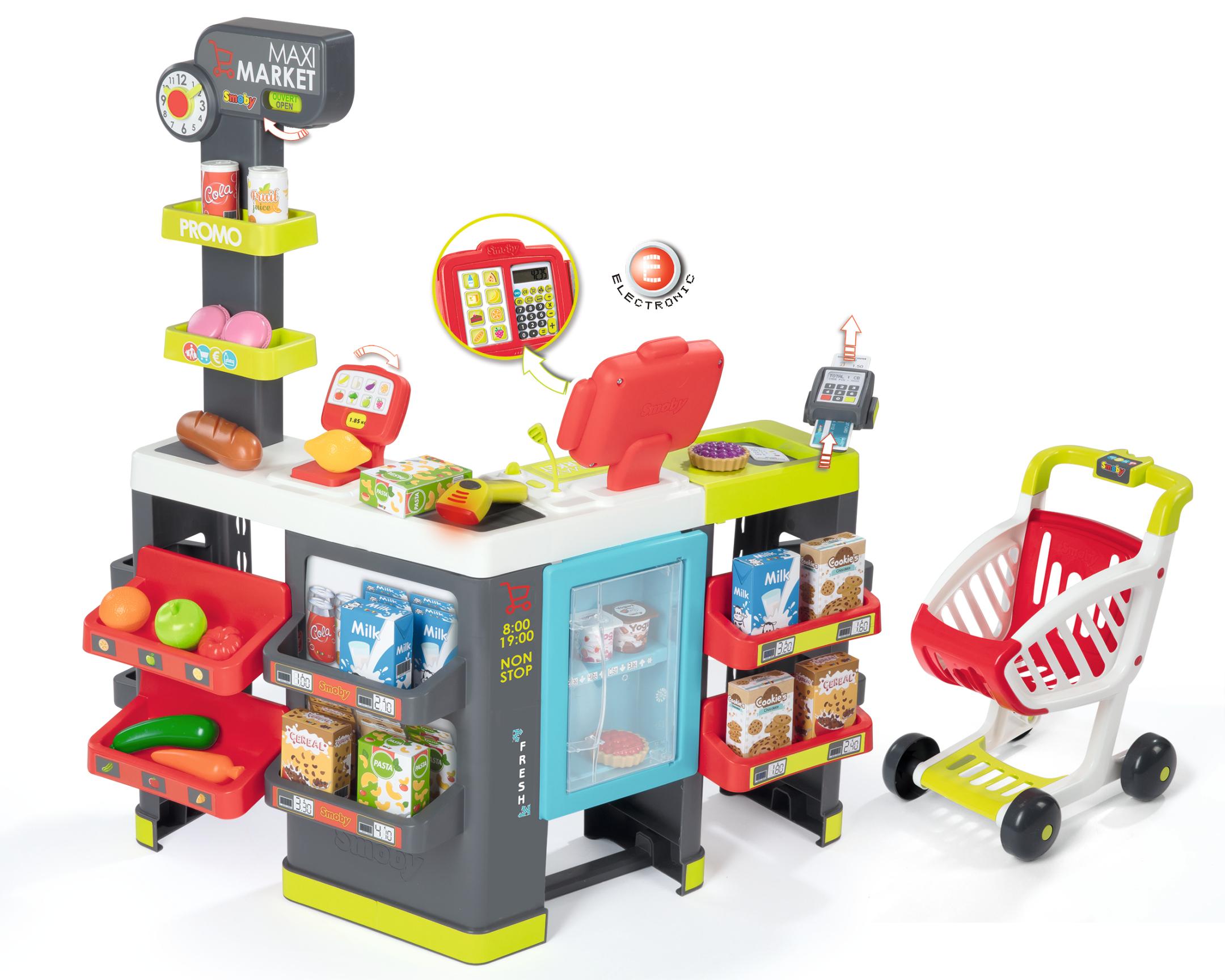 Maxi Supermarkt mit Einkaufswagen