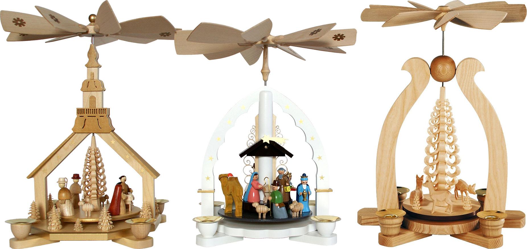 einstöckige Weihnachtspyramiden mit Kerzen 🎄