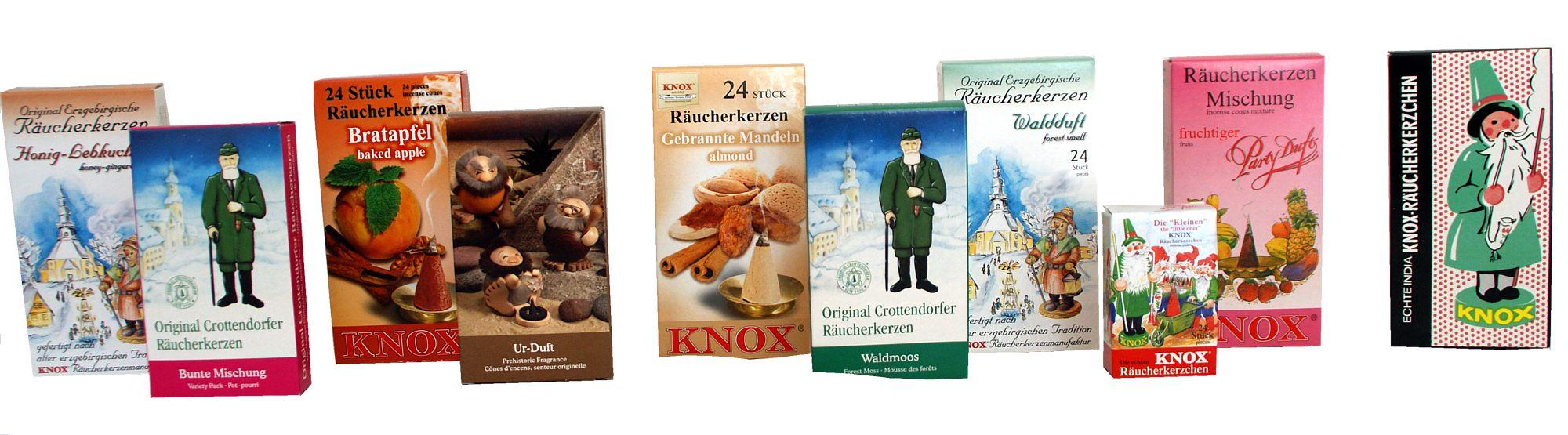 Räucherkerzchen aus Crottendorf, Neudorf und von Knox